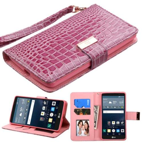 Insten Folio Leather Wallet Crocodile Skin Cover Case Lanyard with card slot For LG G Stylo - Purple