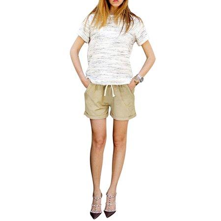 Casual Summer Womens Ladies Elastic Waist Drawstring Beach Loose Plain Shorts Hot Pants Plus Size M-6XL Apricot M