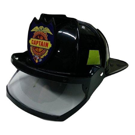 Adult Child Fire Chief Firefighter Fireman Black Helmet with Visor Costume
