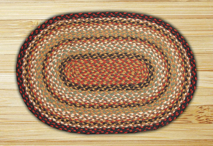 Earth Rugs C-319 Burgundy   Mustard   Ivory Oval Braided Rug 6 Feet x 9 Feet by Earth Rugs
