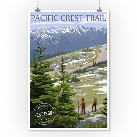 Wrightwood, California - Pacific Crest Trail & Hikers - Rubber Stamp - Lantern Press Artwork (9x12 Art Print, Wall Decor Travel