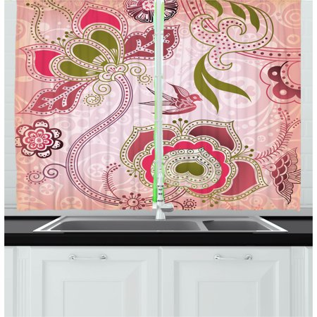 Olive Swirls - Ethnic Curtains 2 Panels Set, Ethnic Asian Floral with Scroll Swirl Leaf Lines Boho Artwork, Window Drapes for Living Room Bedroom, 55W X 39L Inches, Olive Green Pale Pink Dried Rose, by Ambesonne