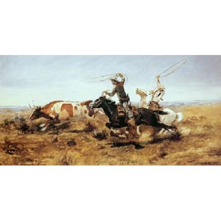 O H Cowboys Roping a Steer Canvas Art - Charles M Russell (10 x 20) - Cowboy H