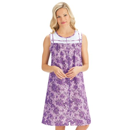 - Women's Floral Zip-Front Cotton Poly Pocket Shift Duster House Dress, Xx-Large, Lilac