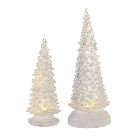 set of 2 led light up clear christmas tree figurines with timer