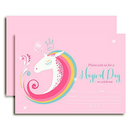 Whimsical Unicorn Birthday Party Invitations For Girls Twenty 5x7 Fill In Cards With 20 White