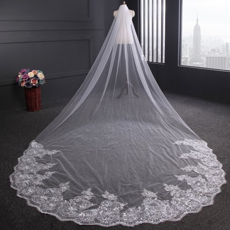 4m Luxury 1 Layer White/Ivory Bridal Wedding Veil Lace Sequins Applique Tulle Bridal Long Head weddingveil Veil with Comb Diamond White Bridal Veil