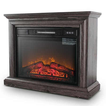 DELLA 1400 Watt Electric Portable Freestanding Fireplace Insert Stove Heater with Glass View Log Glow Remote