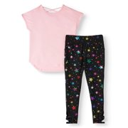 Athletic Works Performance T-Shirt and Printed Legging, 2-Piece Active Set (Little Girls, Big Girls & Plus)