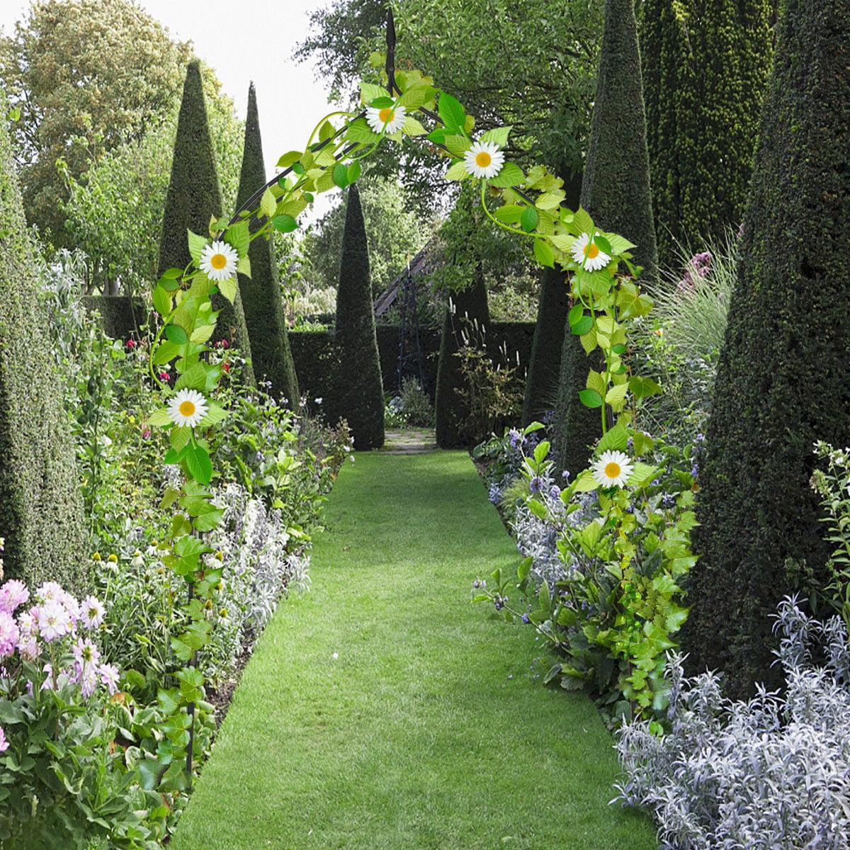 Costway 8'4'' High x 4'7'' Wide Steel Garden Arch Rose Arbor Climbing Plant Outdoor Garden by Arbors