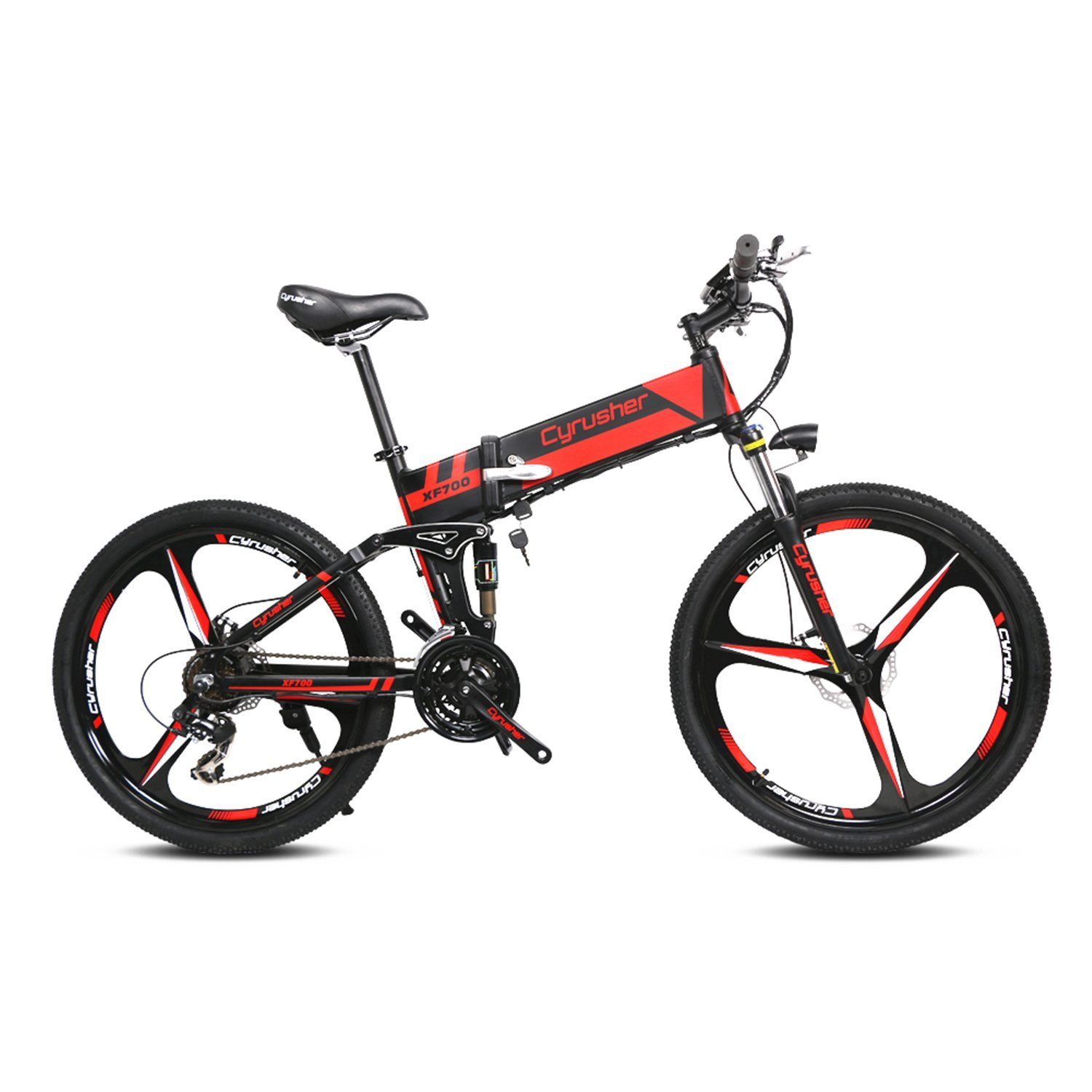 Cyrusher XF700 Folding Electric Bikes For Man 26 inch Mountain Bicycle For Man Full Suspension 36V 10.4AH Hidden Battery Shimano 21 Speeds Double Mechanical Disc Brake Halloween Gift For Man