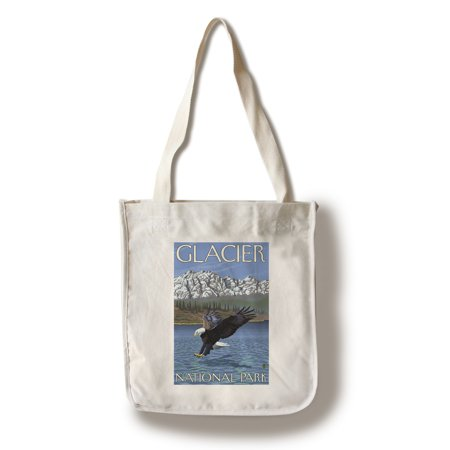 Glacier National Park  Montana   Bald Eagle Diving   Lantern Press Artwork  100  Cotton Tote Bag   Reusable