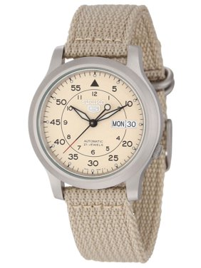 Seiko Men's SNK803 Beige Canvas Strap Beige Dial Automatic Day Date Watch