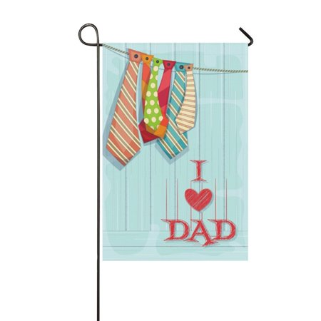 MYPOP Happy Father's Day Tie Neckwear Garden Flag House Banner 12 x 18 (Father's Day Banner)