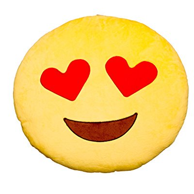 heart eye emoji round smiley emoticon stuffed cushion pillow - yellow - two day shipping - Heart Emojicon