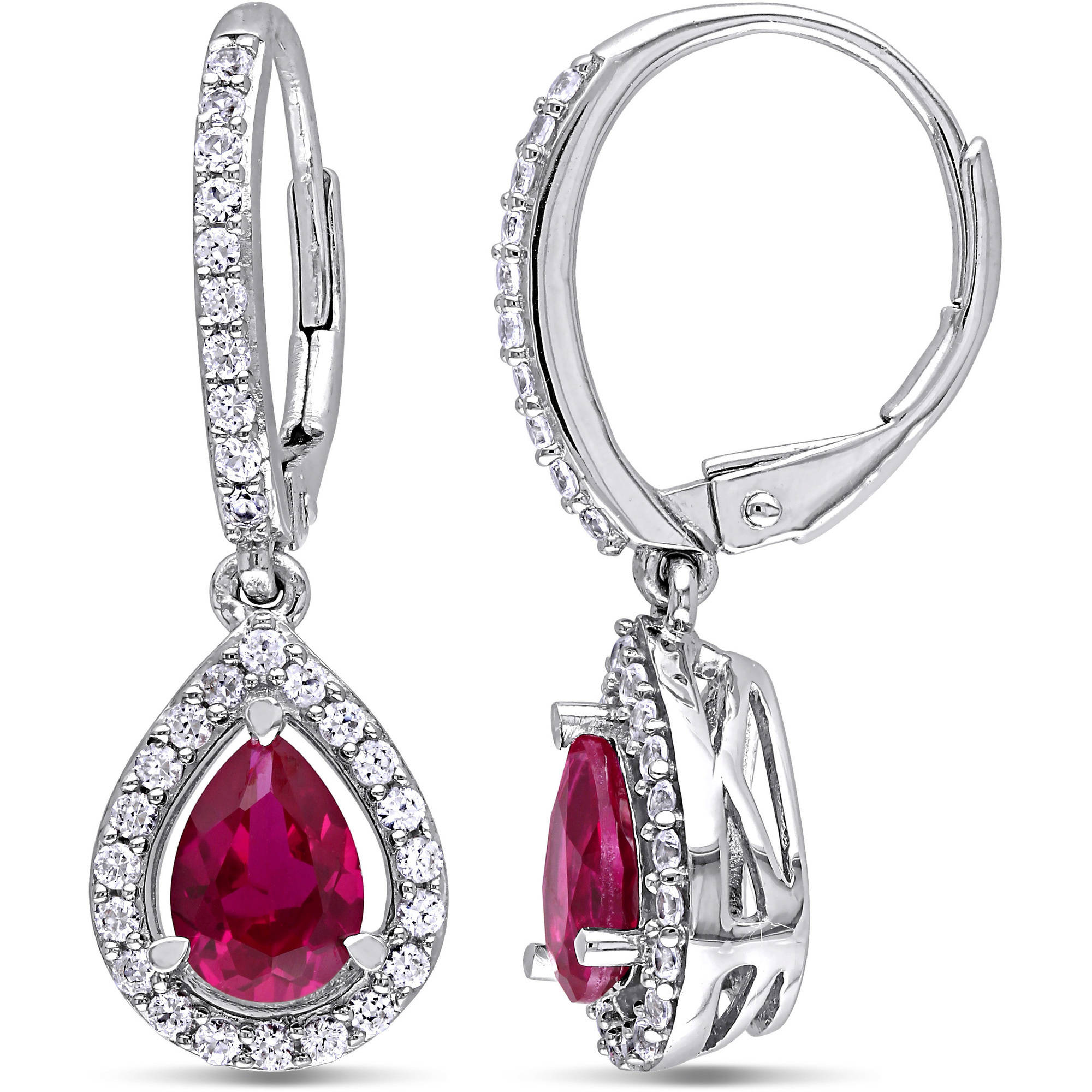 2-7/8 Carat T.G.W. Created Ruby and Created White Sapphire Sterling Silver Teardrop Leverback Earrings