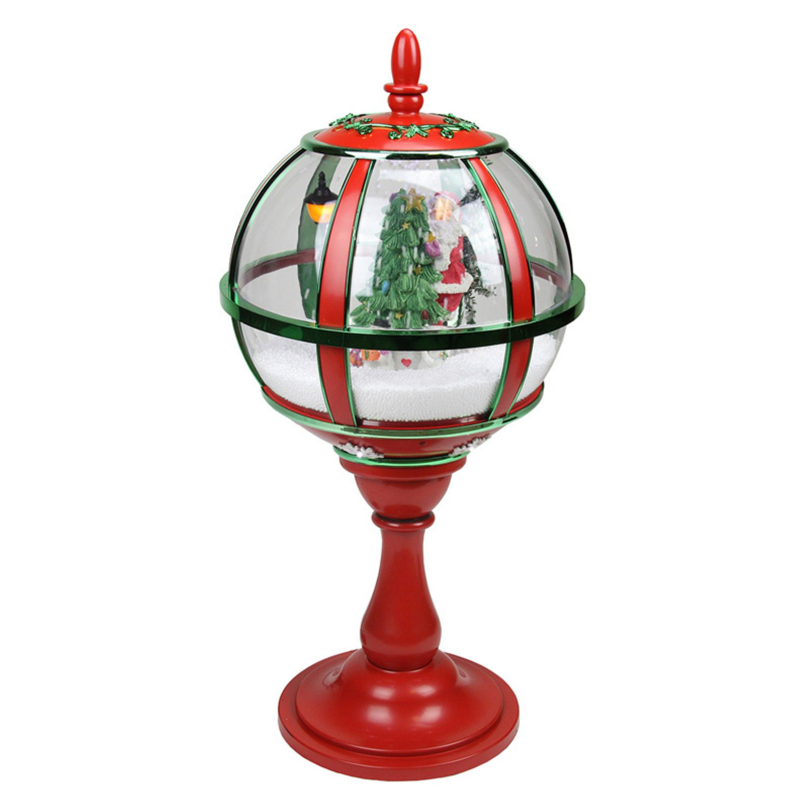 Northlight Lighted Red Musical Snowing Santa with Christmas Tree Table Top Street Lamp