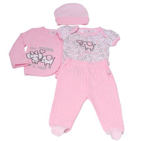 Baby Girls Pink Elephant Lap Shoulder Bodysuit Pants Top Cap 4 Pc Outfit - Boutique Baby Clothes Online