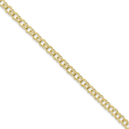 10k Yellow Gold Solid Double Link Charm Bracelet 7 Inch Gifts For Women For Her