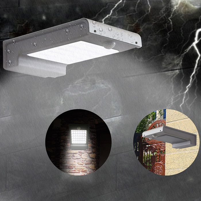 Zimtown 49 LED Gutter Solar Lights Outdoor Security Lighting Motion Sensor 3 IN 1 Mode Off/Bright/Dim 2200mAh Battery Wireless Waterproof, for Yard Garden Stairs Outside Wall Driveway Pathway