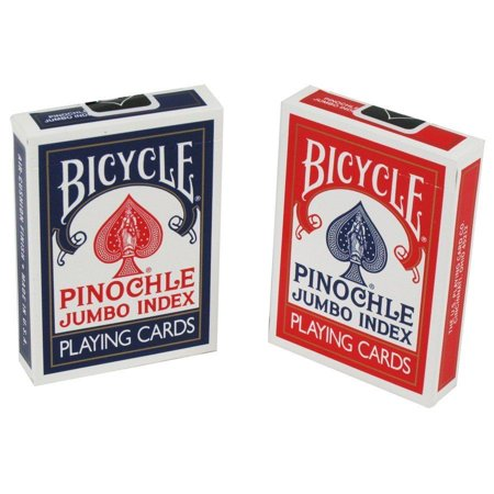 2 Decks Bicycle Rider Back Pinochle Jumbo Index Playing Cards Red & Blue