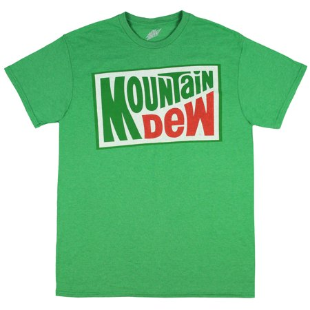 mountain dew soda shirt men's officially licensed classic logo t-shirt (x-large) heather green ()