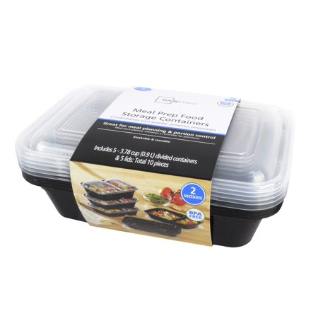 Mainstays Two Sections Meal Prep Food Storage Containers, 5 Count