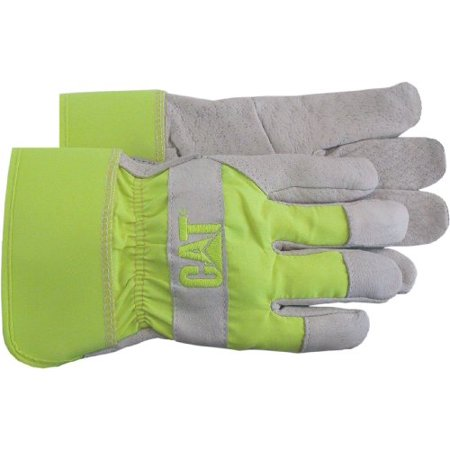 CAT R  MERCHANDISE CAT013103L LEATHER PALM WORK GLOVES W FLUORESCENT GREEN BACK   RUBBERIZED CUFF - LARGE