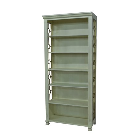 Piedmont Antique White And Gilt Metal Finish Bookcase 79 1 2 Inches Tall