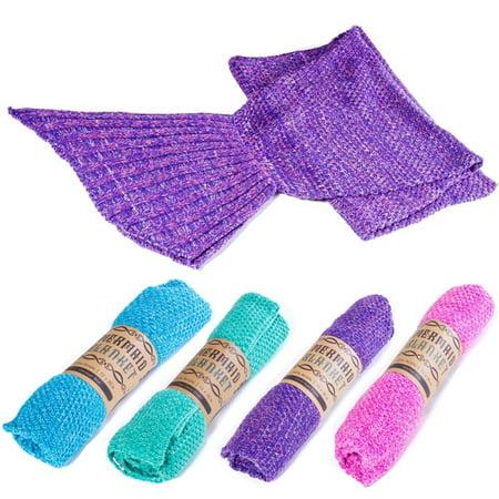 Kitchen Home Mermaid Tail Blanket Super Soft All Season Crochet