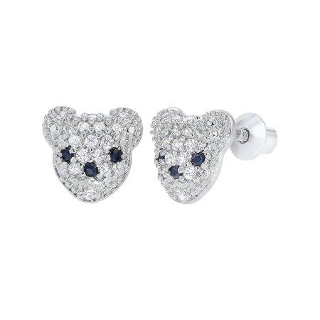 Rhodium Plated Clear Little Bear Screw Back Toddler Girls Earrings](Little Girls Rings)