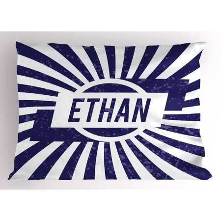 Ethan Pillow Sham Grunge Letters in Navy Blue in a Circle with Wavy Stripes Boys Birthday, Decorative Standard Size Printed Pillowcase, 26 X 20 Inches, Navy Blue and White, by Ambesonne
