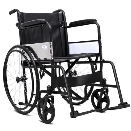 Folding Wheel (Goplus 24'' Folding Lightweight Transport Wheelchair Foldable Backrest Fixed Full Arms )
