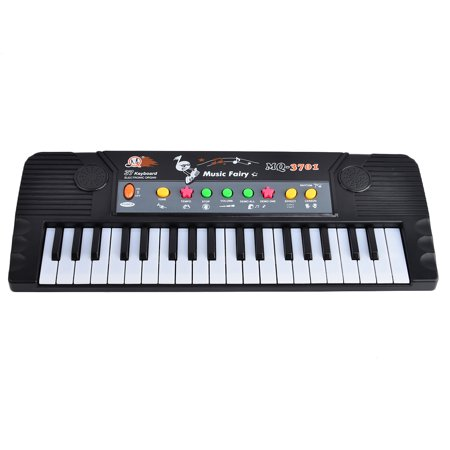 37 Key Electronic Keyboard Piano with Microphone Musical Toy for Children MQ3701 - Black