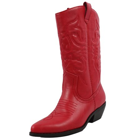Soda Women's  Western Cowboy Pointed Toe Knee High Pull On Tabs Boots - Victorian Knee High Boots