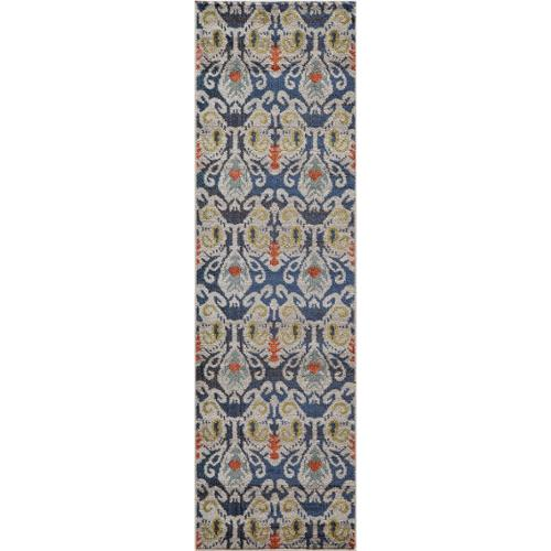 """Momeni Abode Navy Power-Loomed Ikat Rug (2'3"""" x 7'6"""") by Overstock"""