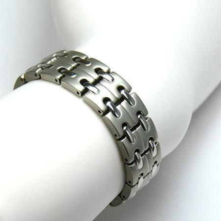 Novoa Men S Titanium Two Tone Satin  Magnetic Bracelet With Polished Accents   12 800 Gauss