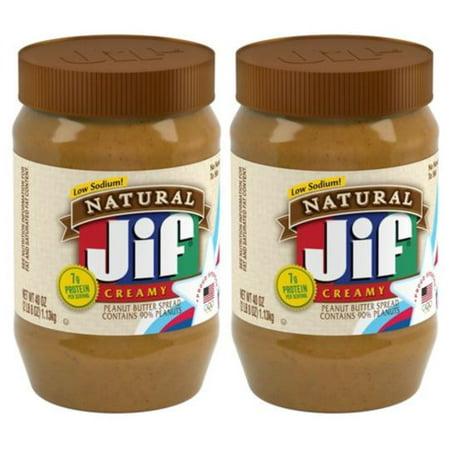 (2 Pack) Jif Natural Creamy Peanut Butter, 40