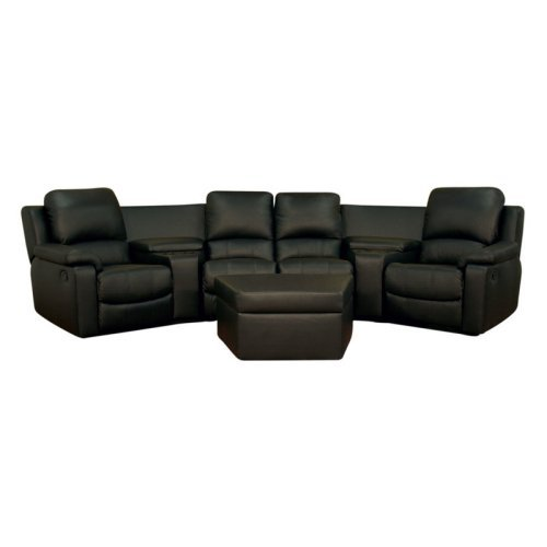 Baxton Studio Arviragus Leather Curved 7 Piece Home Theater Sectional - Black