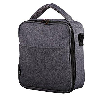 e-manis insulated lunch bag lunch box cooler bag with shoulder strap for men women kids( gray)