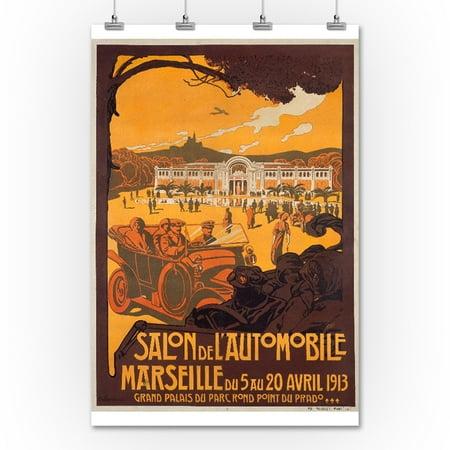 Salon de l 39 automobile marseille vintage poster artist dellepiane fra - Salon vintage marseille ...
