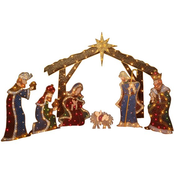 Holiday Time Nativity Set with Manger Light Sculpture, 7 Piece Set ...