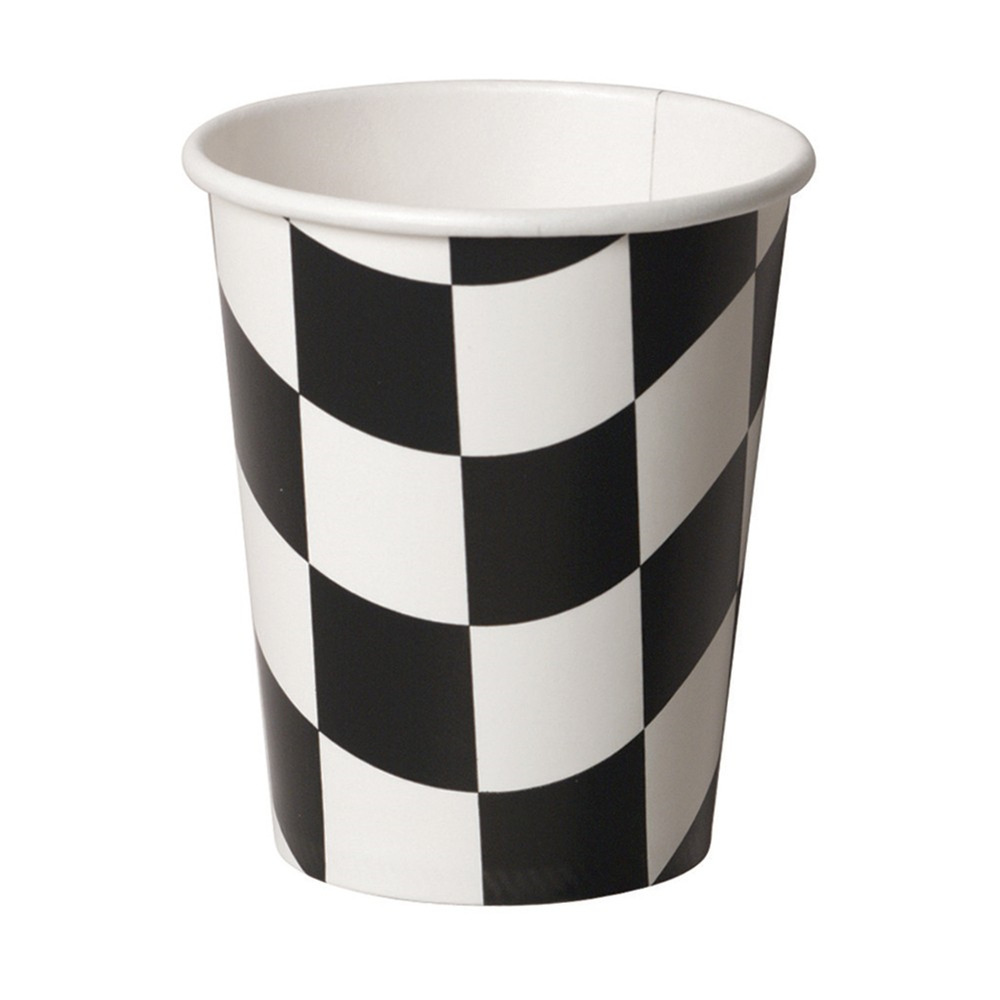 Black/White Check 9 oz Hot/Cold Paper Cups/Case of 96