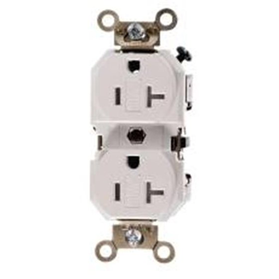 Leviton 606752 Receptacle Duplex 20A 2 Pole 3 Wire White -Pack of 3