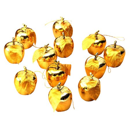 KABOER 12X Christmas Tree Decorations Red Gold Xmas Apple Baubles Hanging Ornaments UK (Halloween Tree Ornaments Uk)