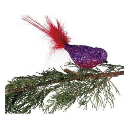 Purple/ Pink Glitter Glass Bird Clip-On with Red Feather Tail Christmas Ornament ()