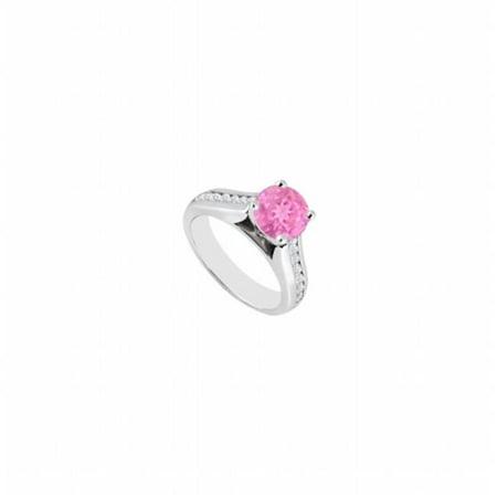 14K White Gold Diamond & Pink Sapphire Engagement Ring - 1.10 CT TGW , 12 Stones