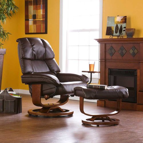 Canyon Lake Leather Recliner and Ottoman-Brown