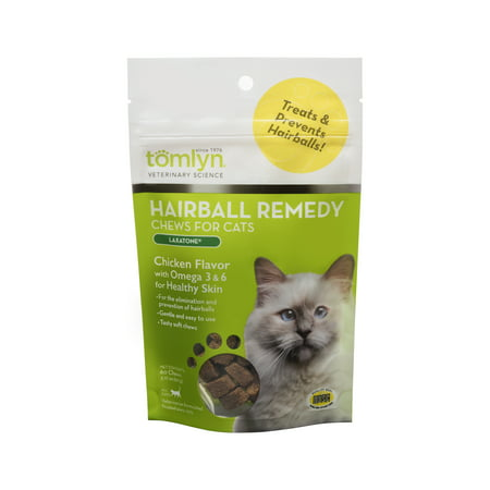 Cal Chew (Tomlyn Laxatone Hairball Remedy Chews for Cats, Chicken Flavor, 60)