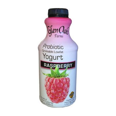 Glen Oaks Farms Low Fat Raspberry Probiotic Yogurt Drink, 24 Fl.Oz.